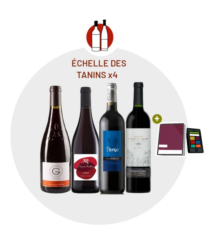 Coffret Dégustation Echelle des Tanins - 4 vins rouges