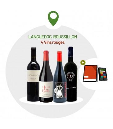 Coffret Dégustation 4 vins rouges du Languedoc-Roussillon