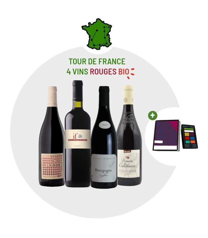 Coffret Dégustation Tour de France - 4 vins rouges Bio