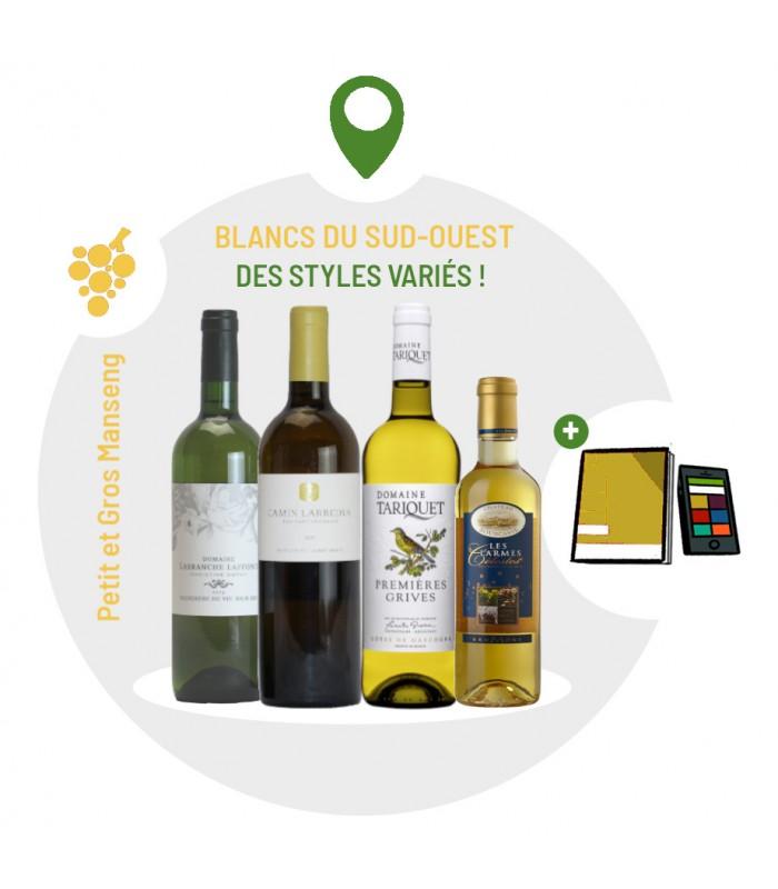 Coffret Dégustation vins du Sud Ouest - 4 vins blancs Petit et Gros Manseng