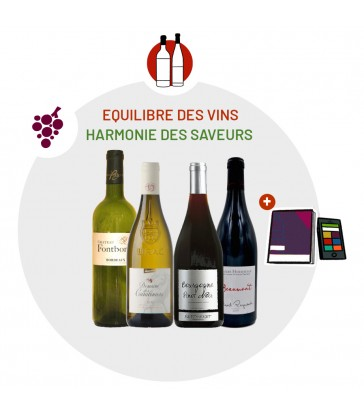 Coffret Dégustation Equilibre des vins - 2 vins blancs 2 vins rouges