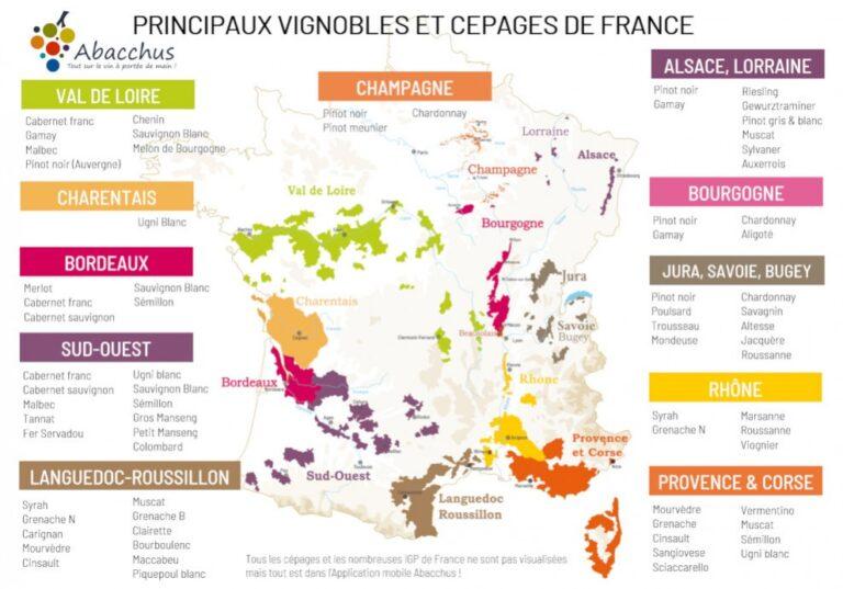 Carte des vins français par région