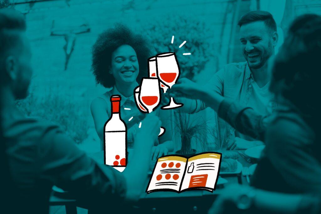 groupe amis dégustent du vin