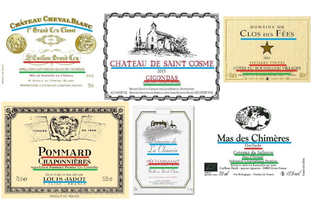 6 étiquettes de vins soulignées