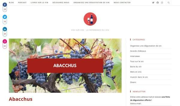 Vin sur Vin test appli Abacchus