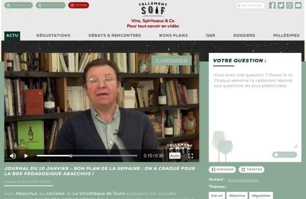 Antoine gerbelle Tellementsoif.tv parle de la box vin abacchus