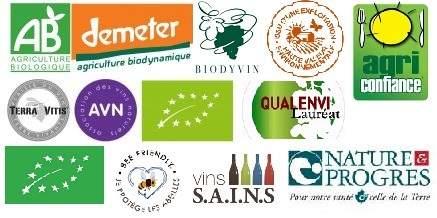 Labels Vins bio, biodynamie et naturels