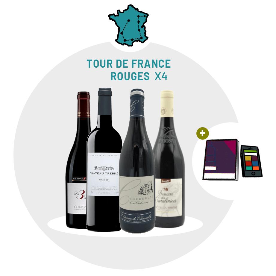 Box Abacchus  tour de France 4 vins rouges