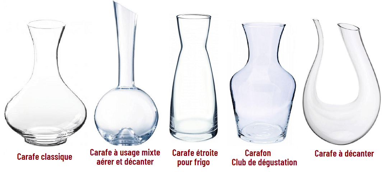 différentes types de carafes