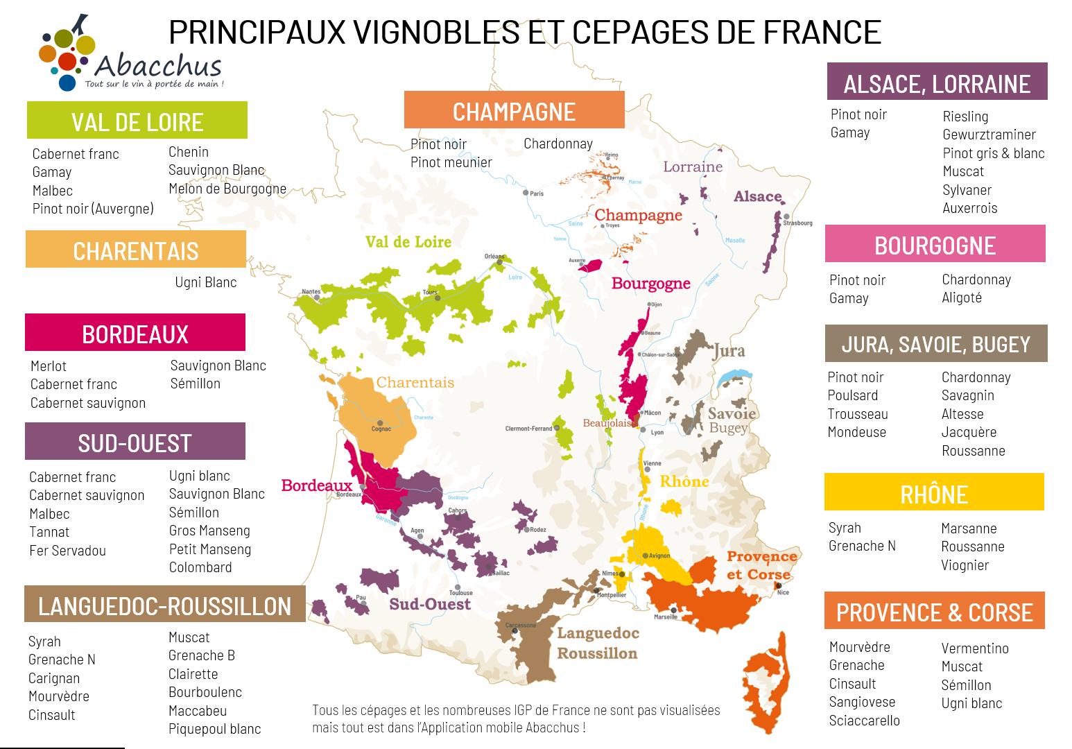 Carte de France des principayx vignobles et cépages